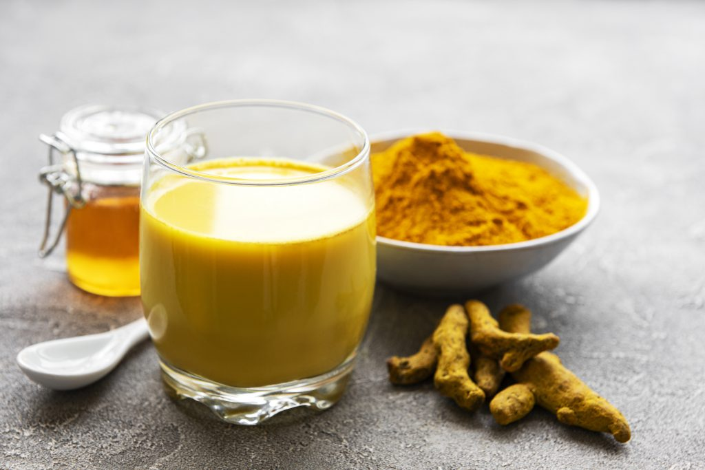Turmeric milk, root, and powder for flavoring and herbal benefits